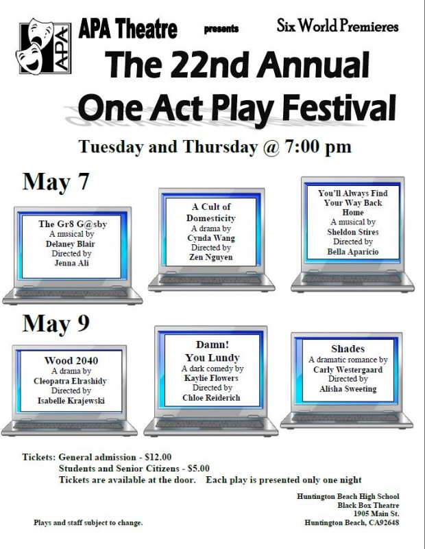 It's the 22nd annual ONE ACT PLAY FESTIVAL