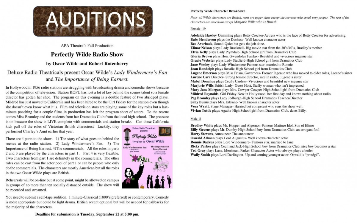 "Acting Department AUDITIONS: ""Perfectly Wilde Radio Show"""
