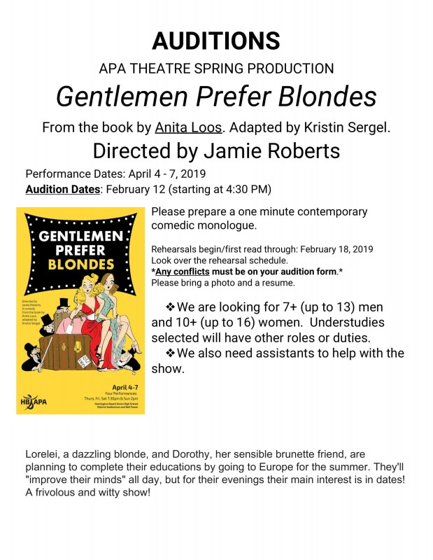 "AUDITIONS for Acting's ""Gentlemen Prefer Blondes"""