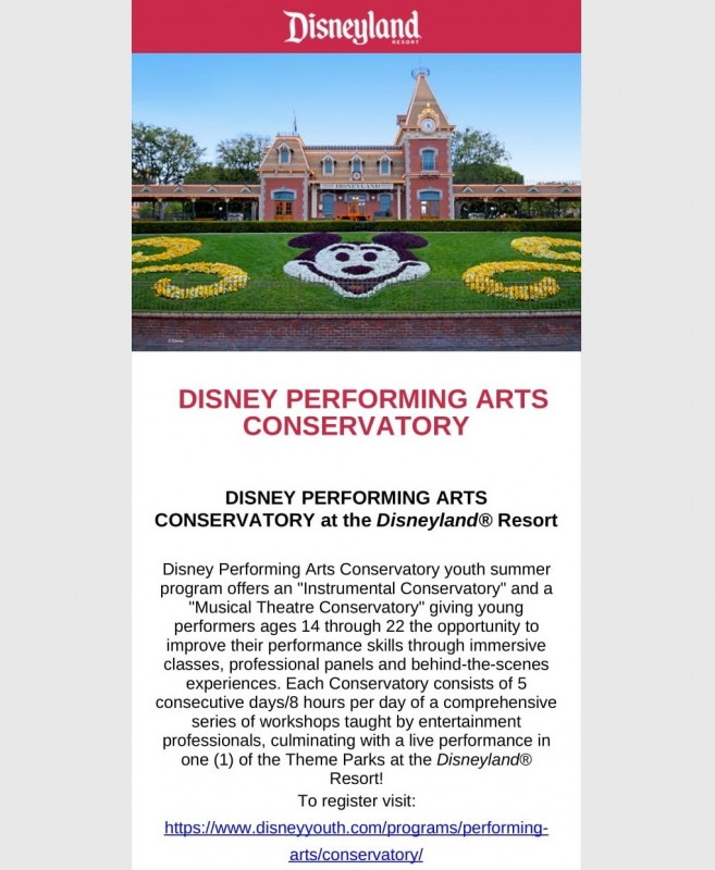 Disney Performing Arts Conservatory this July!