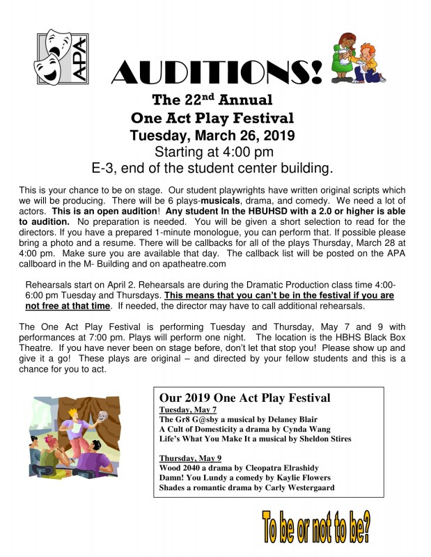 One Act Play Festival Auditions
