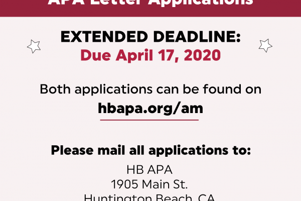 APA HONOR CORD AND LETTER APPLICATIONS