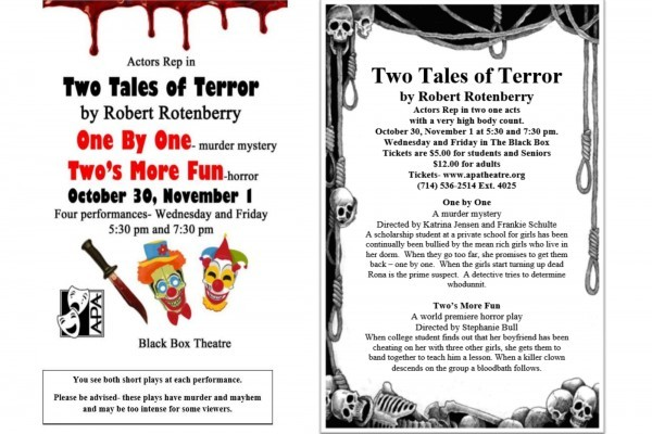 TWO TALES OF TERROR coming October 30th!